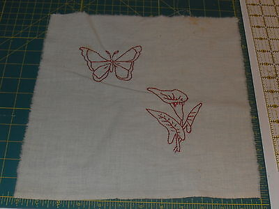 VINTAGE/ANTIQUE QUILT BLOCK: REDWORK EMBROIDERY- butterfly and cala lily flower