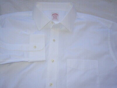 Brooks Brothers MADISON Big Tall All Cotton Solid White Men Dress Shirt 18 - 38
