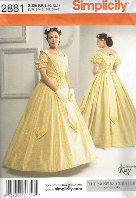 Civil War Era Costume Misses size 8-14 Simplicity 2881 Sewing Pattern