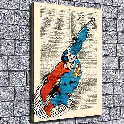 """12""""x18""""Superman Newspaper Paint HD Canvas print Home decor Room Wall Art Picture"""