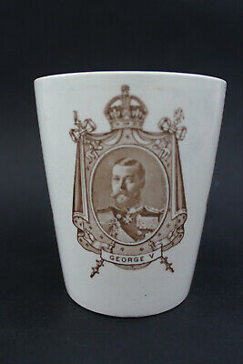 Antique Royal Doulton KING George V and QUEEN MARY Coronation mug 1911.