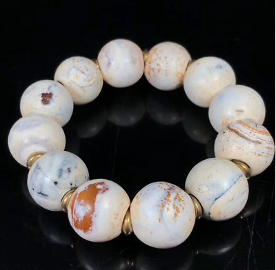 Ancient China Natural weathering Chicken bone white old agate Bracelets