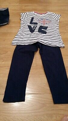 Girls Two Piece Top & Leggins Navy & White Love England Age 8/9 Pre-owned