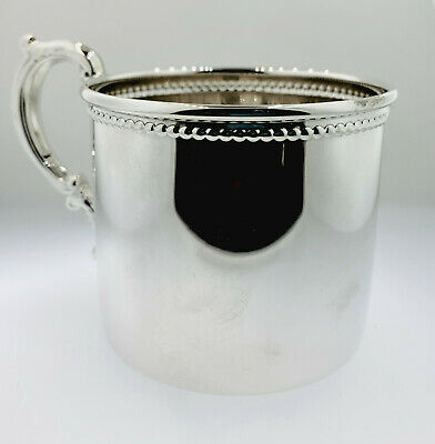Empire Sterling Silver Beaded l Baby Cup, , Made in USA