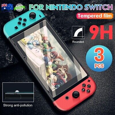 3x Nintendo Switch Tempered Glass Screen Protector 9H Slim Cover Film /Clean Set