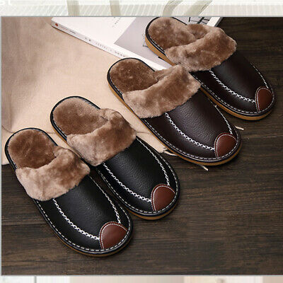 Men's Winter Home Slippers Leather Indoor Flats Comfy Close Toe House Warm Shoes