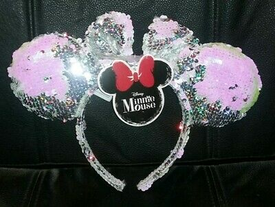 nwt DISNEY MINNIE MOUSE SILVER PINK EARS SEQUINS BOW HEADBAND