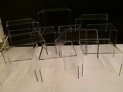 *Set Of 10* Clear Acrylic Perspex Stands,Display Stands,Plinths,Shop,Risers