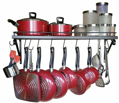 """Storage Pot Holders Shelves 10 Hooks 30"""" Wall Mounted Pots and Pans Rack New"""