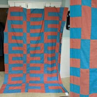Vintage blue and red mod quilt top