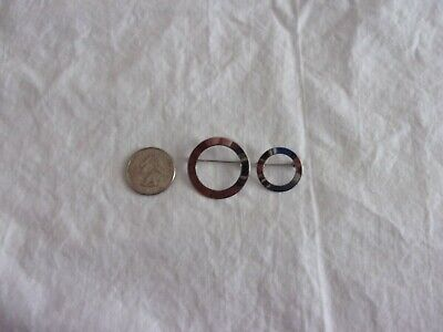 Vintage 50's 60's Mid Century Modern Sterling Silver Pair Circle Pins Brooches 2
