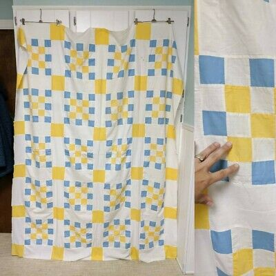 Vintage blue and yellow quilt top