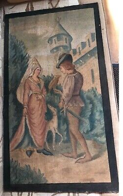 Antique Tapestry French 19th century Gothic Revival Medieval Falconry Versailles