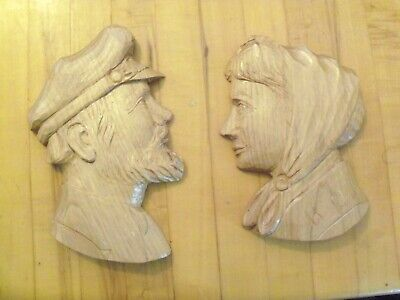 2 Vintage Carved Wooden Heads Old Man & Woman Wall Plaques