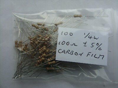 100 x new, unused 100ohm 1/4W 5% carbon film resistors