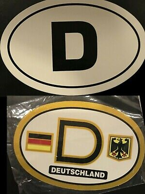 D Germany Country Code Oval Sticker Decal Self Adhesive german euro