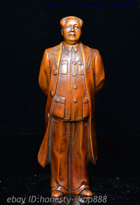 "8"" Chinese Boxwood Great ideologist statesman Leader Mao Ze Dong Chairman Statue"