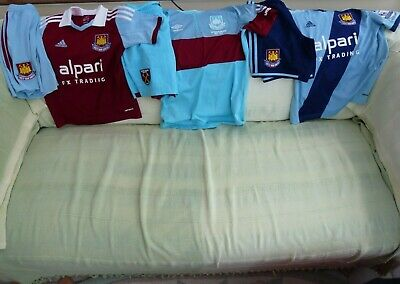 West Ham Childs Shirts and Shorts Bundle Sizes YS, MB and YL Umbro and Adidas