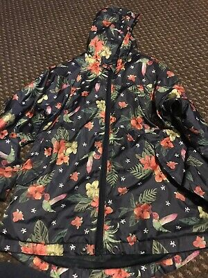 Girls Age 8-9 Nutmeg Tropical Print Rain Coat / Jacket