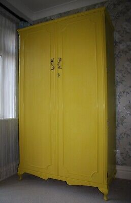English Yellow Vintage Compactum Wardrobe Interior Lit Hand Painted Annie Sloan