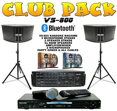 "Vocal-Star Karaoke Machine Speaker & Amplifier Set CDG DVD Bluetooth ""Club Pack"""