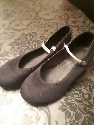 Black Canvas Character Dance Shoes UK Size 1 By Freed Of London RAD Approved