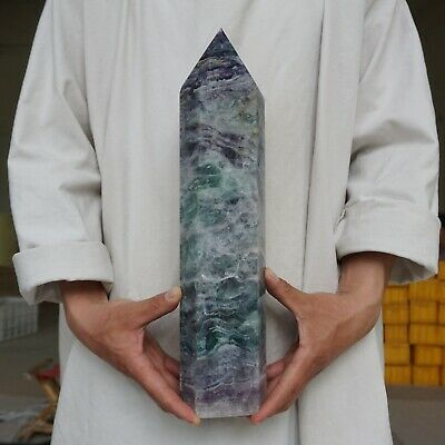12.77LB Natural Rainbow Fluorite Quartz Crystal Point Tower Polished Healing