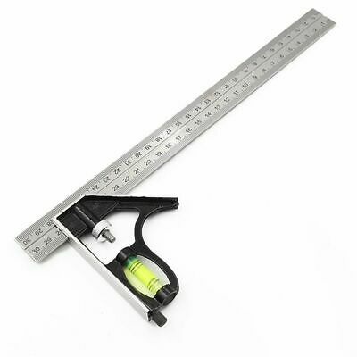 Steel Woodworking Combination Level Gauge Square Angle Metric Ruler Adjustable