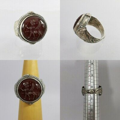 Sassanian King Carnelian Agate Ring Old Solid Silver Carved US-10 3/4 #270