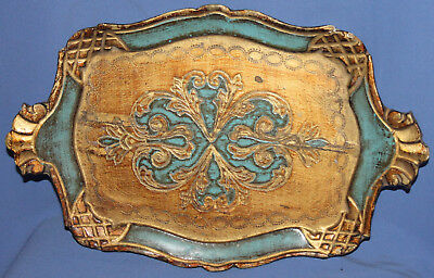 Vintage Hand Made Papier Mache Tole Serving Tray