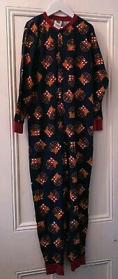 Boys Football Barcelona FC All In One Pyjamas Sleepwear Size 9-10 Years Navy
