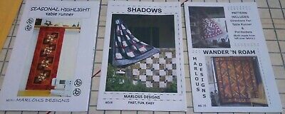 Marlous Designs quilt pattern lot of 3