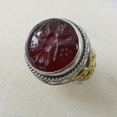 Carnelian Agate Sassanian God Ring Old Solid Silver Carved US-10.5 #271