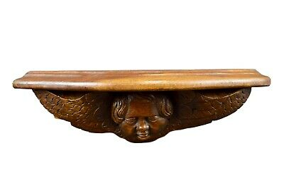 French Antique Carved Wood Angel Wall Shelf Bracket Console 18th