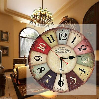 Large Vintage Wooden Wall Clock Antique Shabby Chic Retro Living Room Home Decor