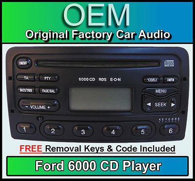 Ford Focus car stereo, Ford 6000 CD player + removal keys & radio code BLACK