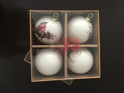 Pottery Barn Silly Stag Ball Christmas Ornaments Set of 4 NEW Deer