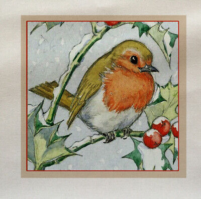 Robin Winter Scene With Trees Fabric Cushion Upholstery Craft Quilting Panel