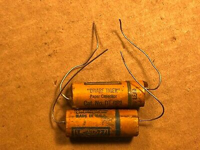NOS Matched Pair Cornell-Dubilier .1 uf 600v Dwarf Tiger Wax Capacitors TESTED B