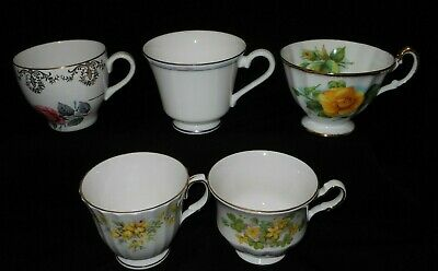 5 Assorted English made quality tea cups. Excellent pre-owned condition. #93
