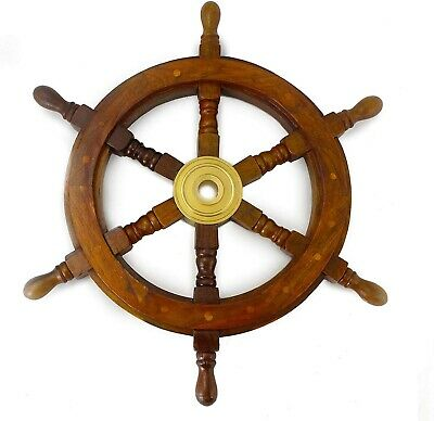 Wooden Captains Ship Wheel Solid Wood Great Pirate or Nautical Look (12 inch)
