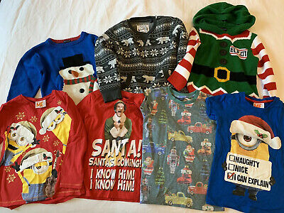 Boys Next Christmas Jumpers Bundle Tops Clothes Size 4-5 Years