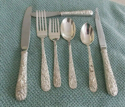 79 Piece Kirk & Sons Repousse Sterling Silver Flatware Set Serving Pcs No Mono