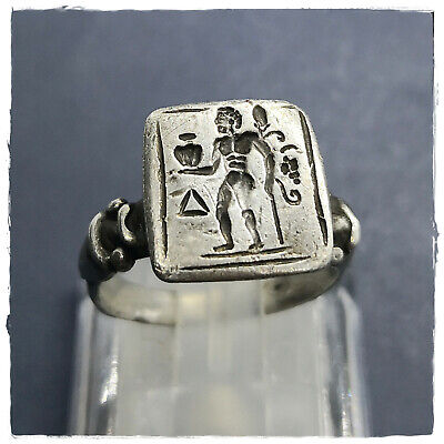 ** DIONYSUS - GOD of the WINE** ancient LEGIONARY SILVER Greek-Roman ring! 7,40g