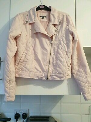 M & S Girls Pink Partial Quilted Cotton Biker Style Jacket Age 13-14yrs