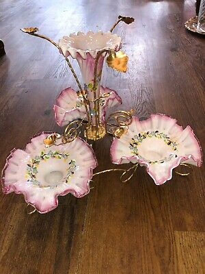 antique opaline centerpiece epergne pink