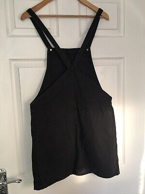 New Look Black Grey Denim Pinafore Dungaree Dress, Size 10 Uk