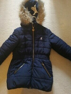 Girls Age 5 Joules Quilted Coat. Navy Blue