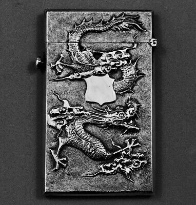 Antique CHINESE Export Solid SILVER Card Case Hung Chong 1860