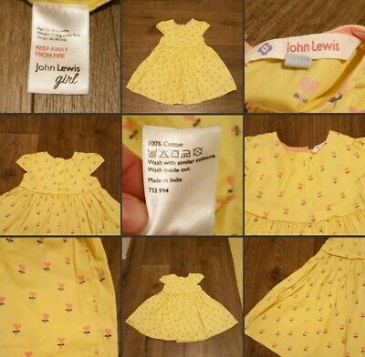 *Used* Lovely Little Girls Dress ♡JOHN LEWIS♡ 12-18 Mths~Yellow Pink Love Hearts